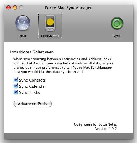 pocketmac sync manager