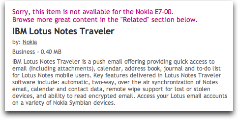 vowe dot net :: Lotus Notes Traveler available in the OVI