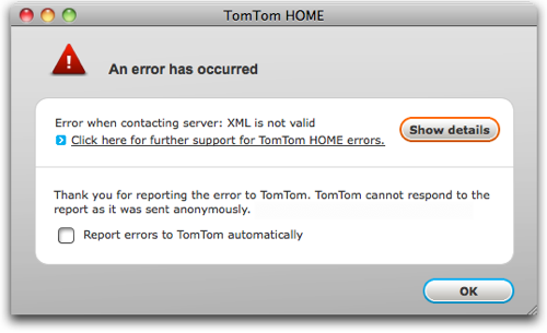 vowe dot net :: TomTom Map Update fails big time