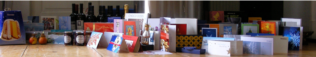 xmas cards and presents